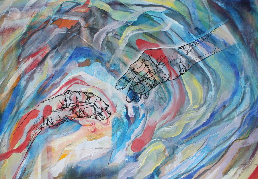 A painting of a hand reaching out to another one.