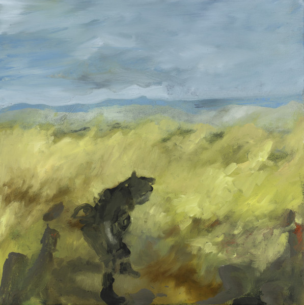 A painting of a man leanding over in a field with a blue sky behind him.