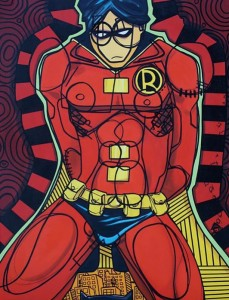 A painting of the Red Robbin superhero looking sad.