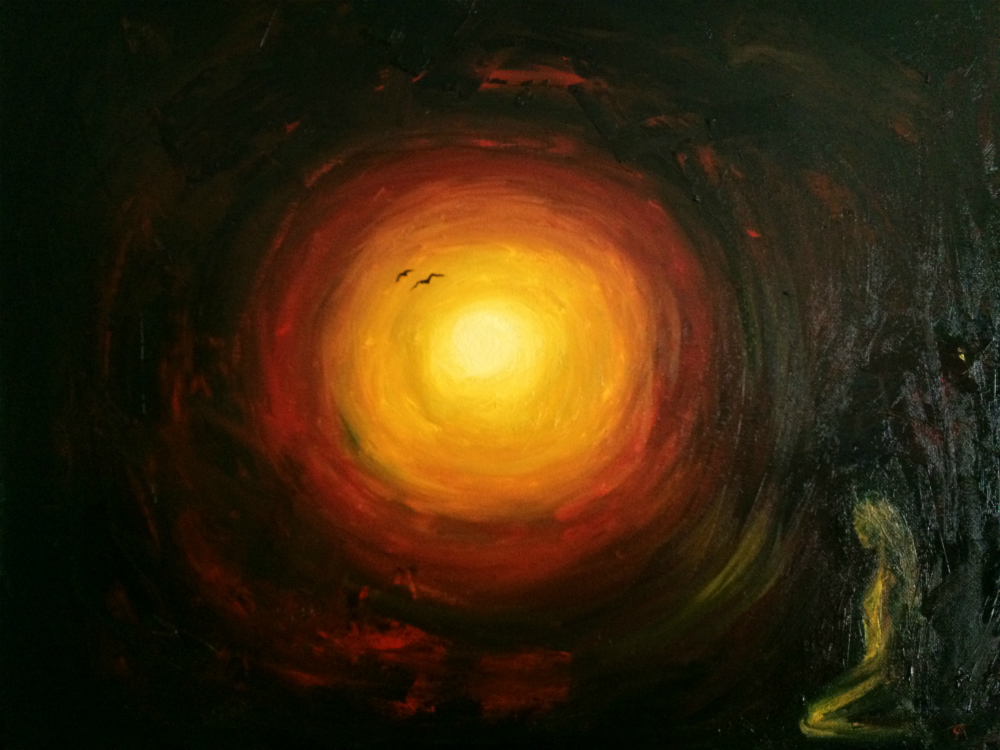 A dark painting with a brightly colored sun in the middle and person kneeling to the side.
