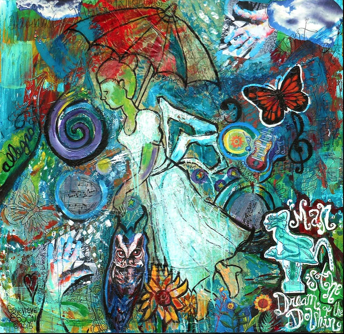 A colorful creation of a woman wth an umbrella flying surrounded by an owl, buterfly and statue.