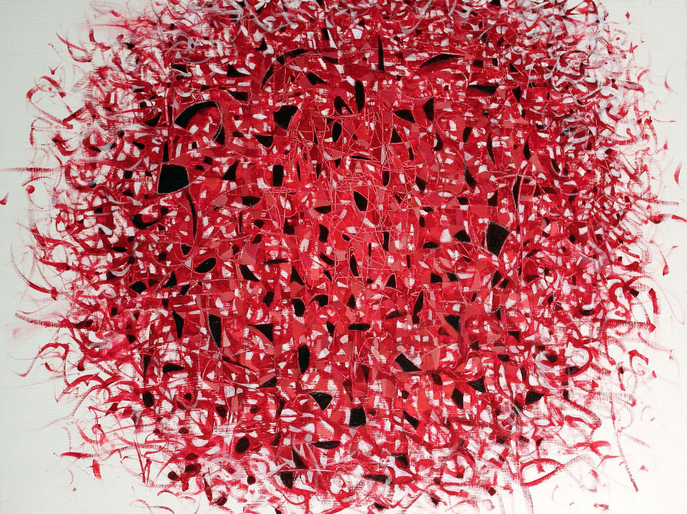 An abstract painting of a ball made up of red lines and black dots.