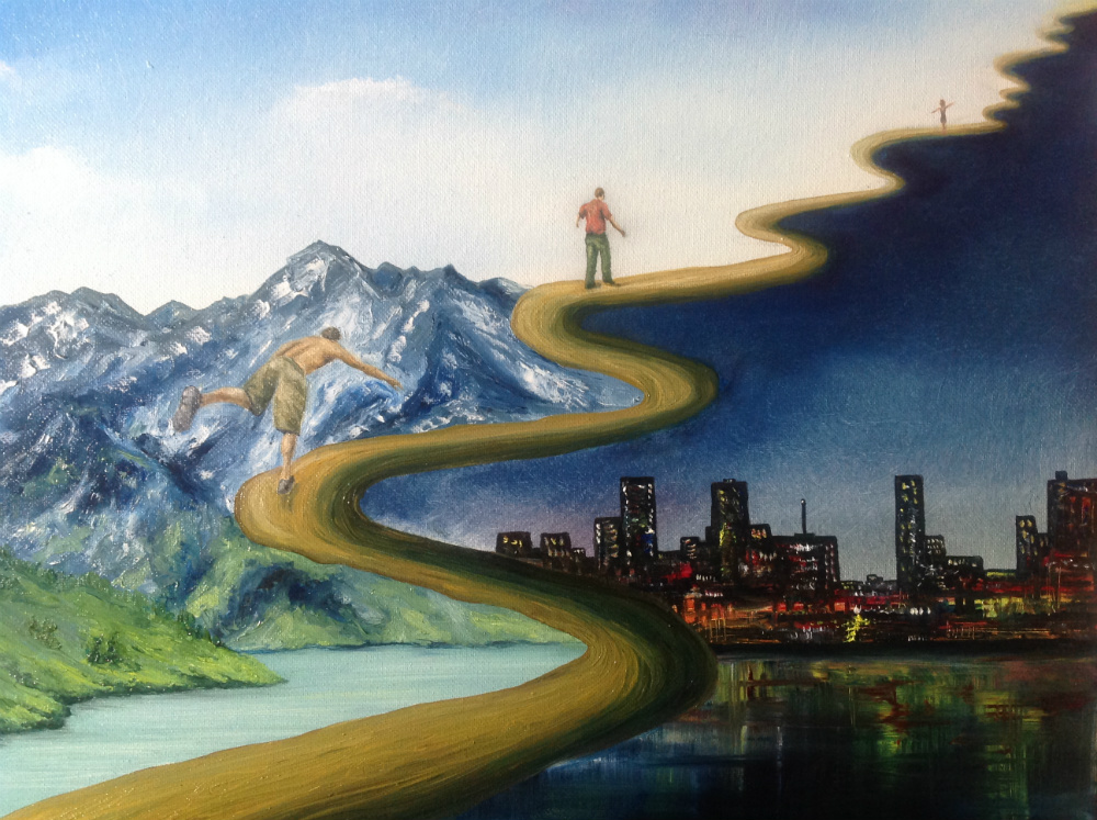 A painting of an upward, winding path with three figure on it. On the left of the path are snowy mountains during the day and on the right of the path is a city at night.
