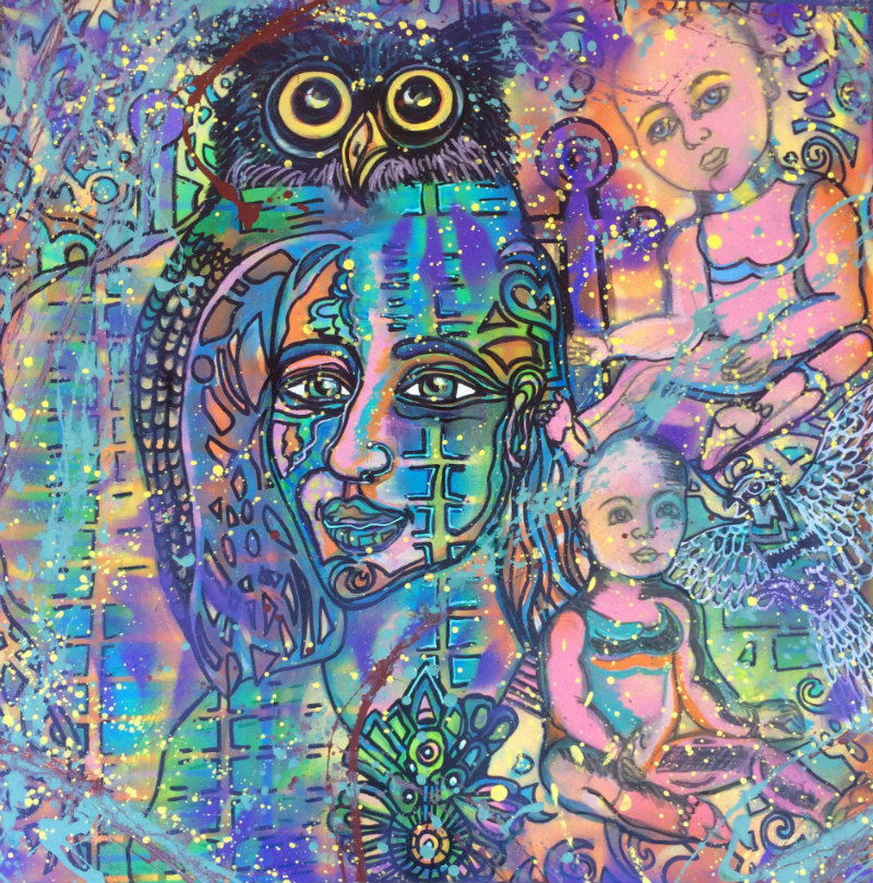 A multicolored creation with an featuring the face of an adult and the bodies of two babies with an owl juxtaposed.