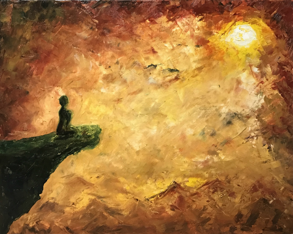 A painting of a person kneeling on a cliff facing the sun.