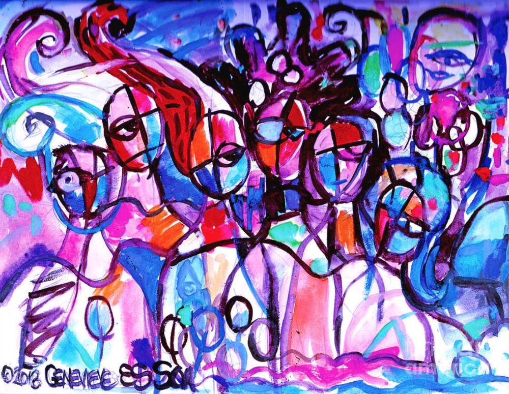 An abstract painting featuring a handful of forward-facing figures.