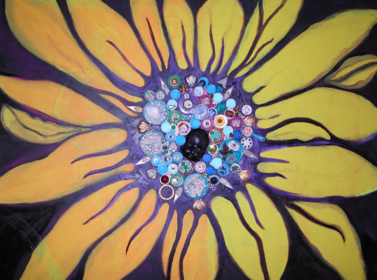 A sunflower with a lot of brightly colors spirals where the seeds would be.