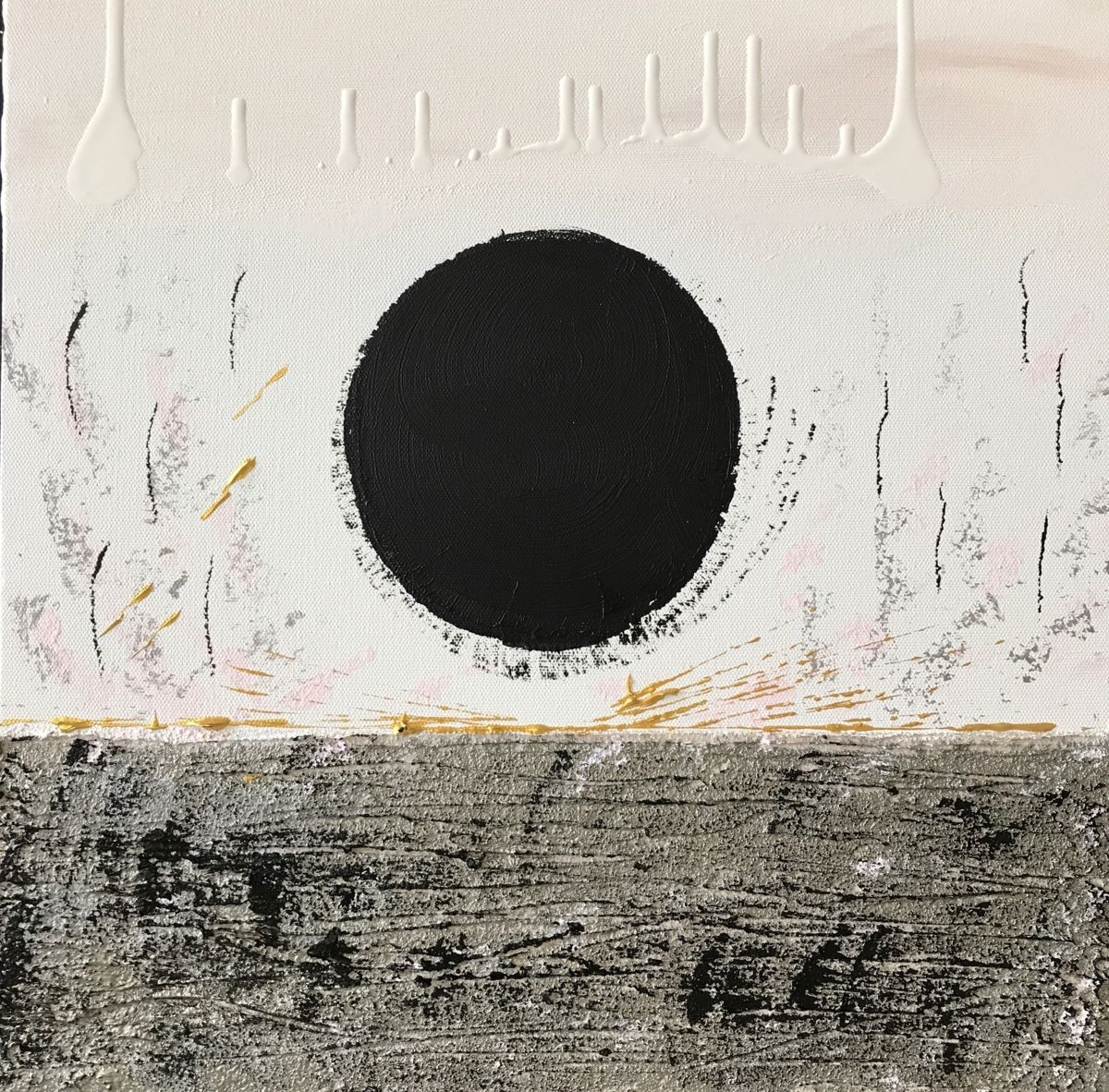 An abstract minimalist painting of a black spot.