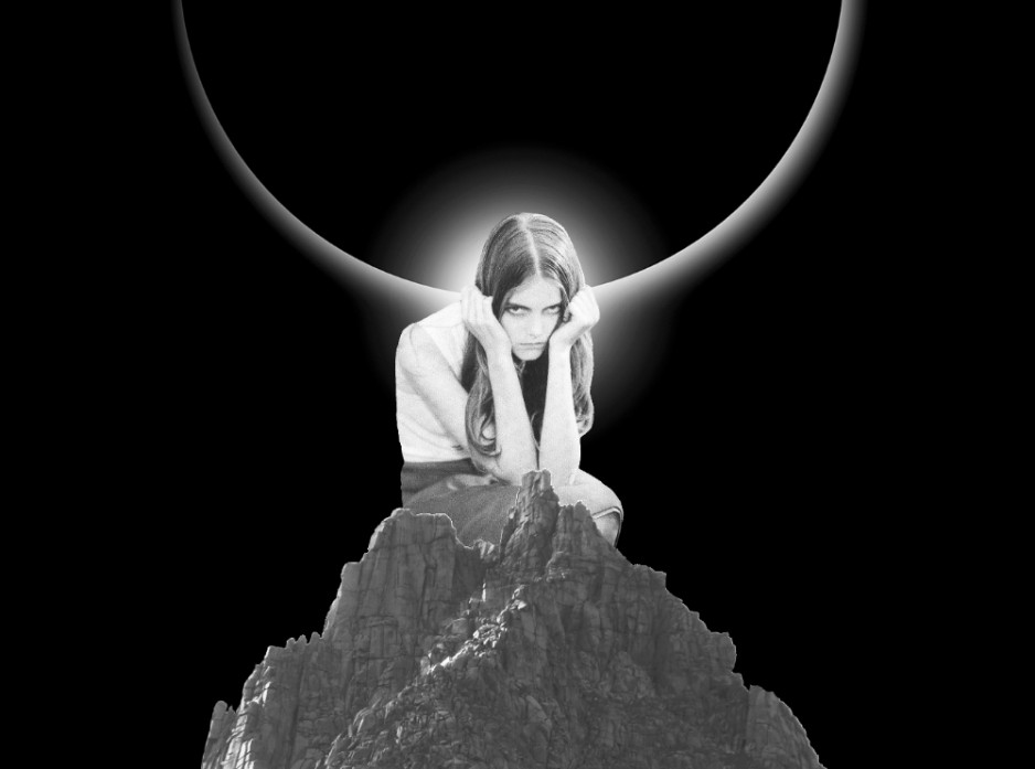 A black and white collage of a woman sitting on a rock with a solar eclipse behind her.