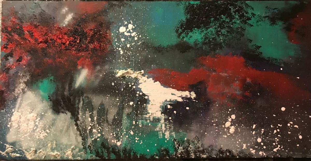 An abstract painting with large blotches of red, white and green on a black background.