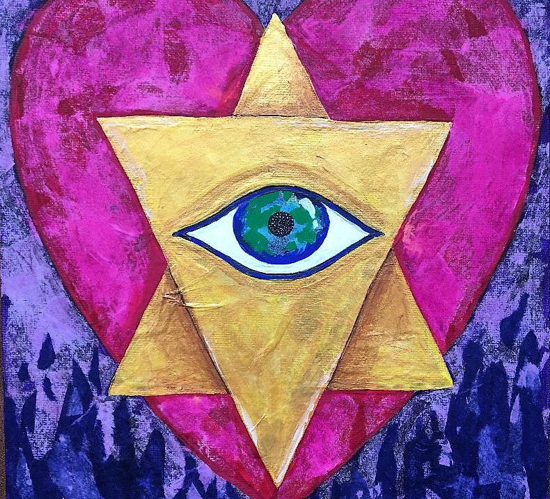 A collage featuring a heart with a start in the forgeground and an open eye within the star.