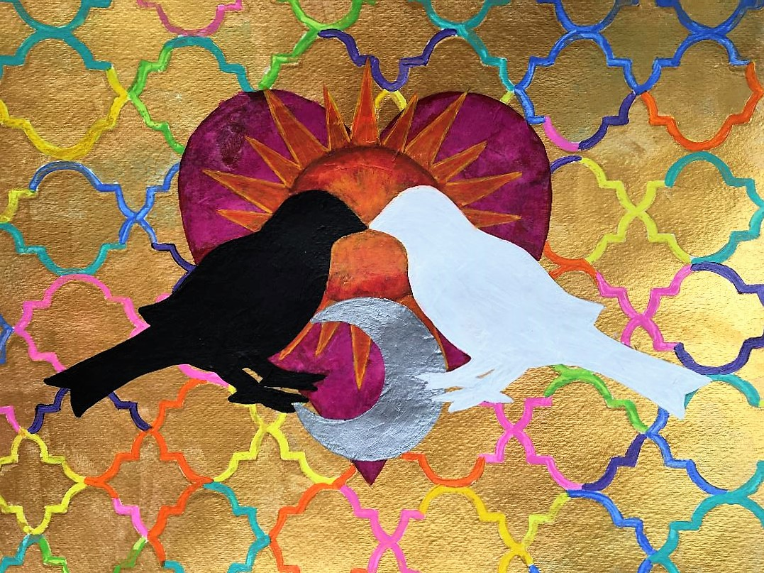 A bright collage with a heart and two birds, one black and one white, kissing.