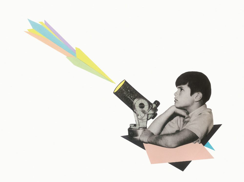 A collage of a black-and-white boy projecting a rainbow.