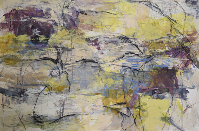 An abstract panting featuring white, yellow and purple colors with black lines.
