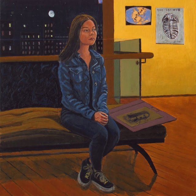 A painting of a woman sitting on a bench looking off contemplatively into the distance.