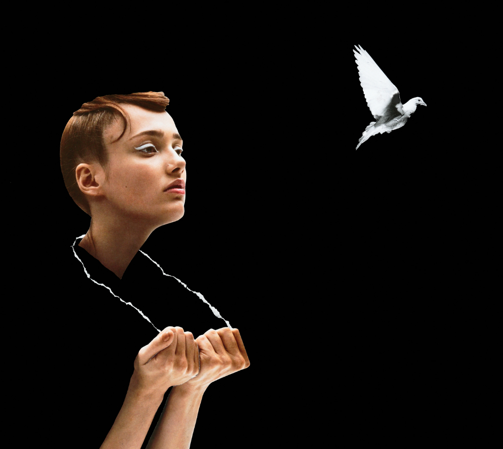 A collage of a woman with no body pulling a necklace around her neck looking at a white bird flying away from her.