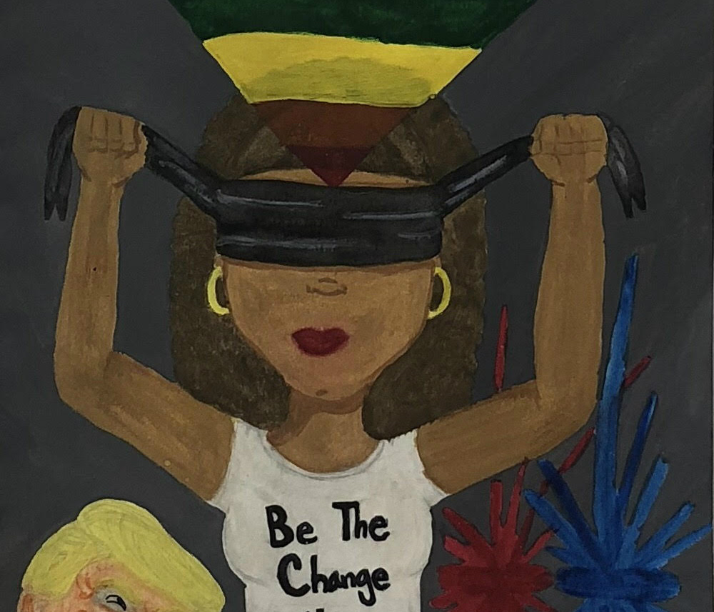 A painting of a woman putting on a blindfold next to Donald Trump.