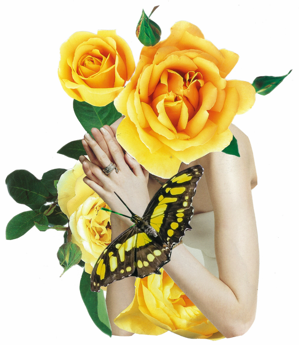 A woman holding her hands togethers in the prayer position with flowers and butterlfies superimposed.