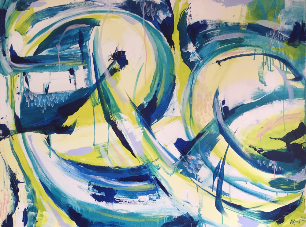 An abstract painting of what looks like waves.