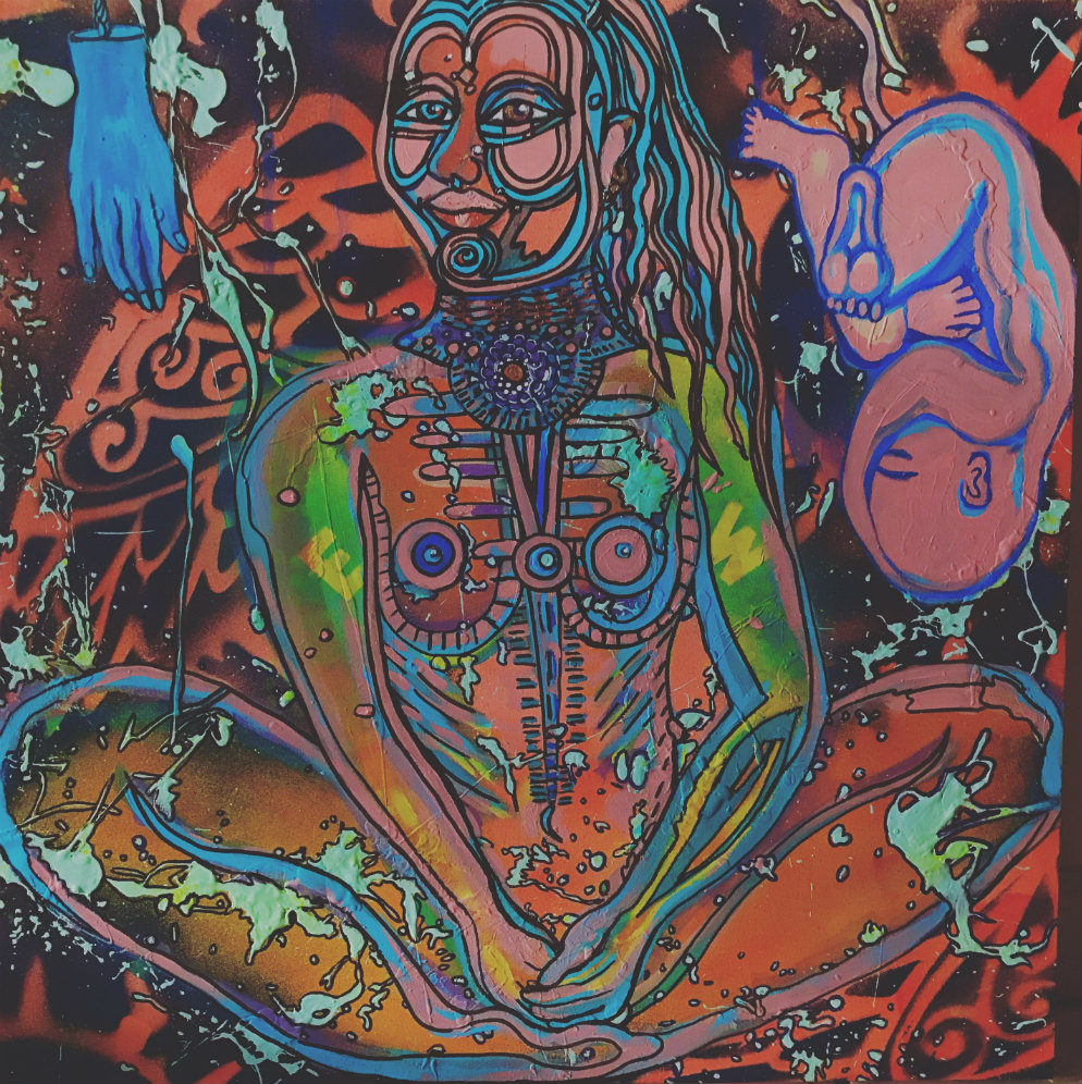 A painting of a woman sitting cross-legged and a fetus floating in space.