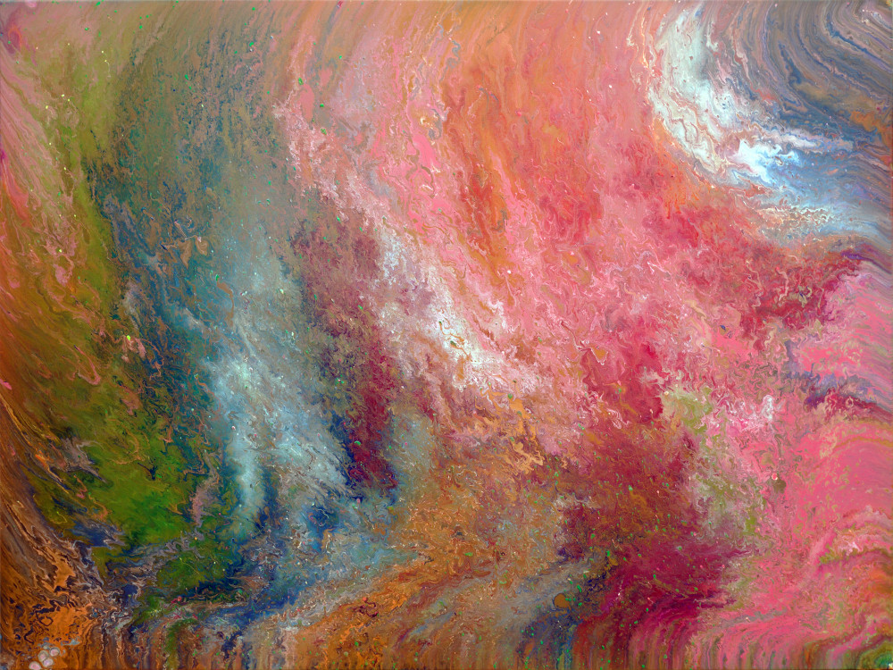 A brightly colored abstract painting with various light colors.