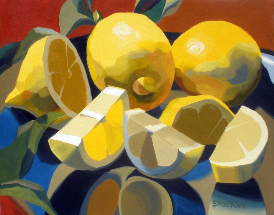 A painting of three lemons, one of them diced.