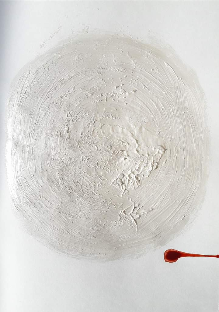 An absract painting of a white cirlce and a red line which kind of looks like sperm approaching an egg.