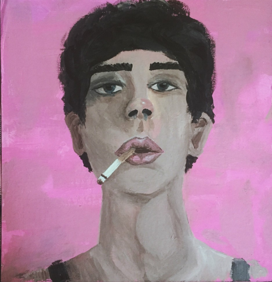 A portrait painting of a man smoking a cigarette.