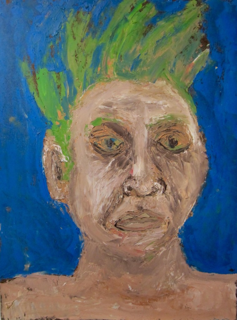 A patining of a man's face with green hair.