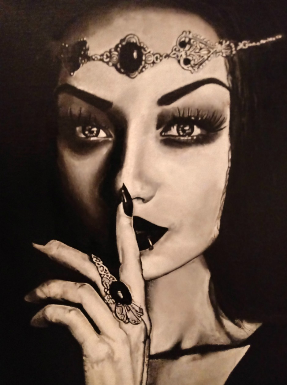 A black-and-white painting of a woman with a finger to her lips.