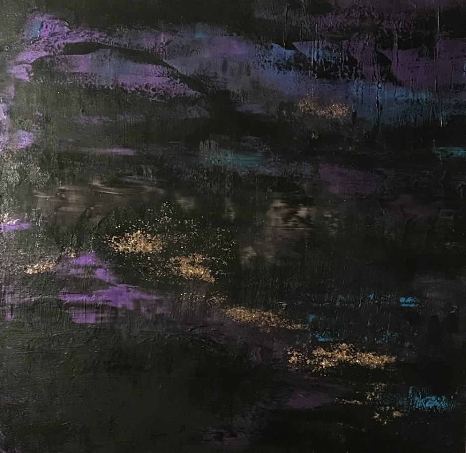 An abstract, black and purple, painting.