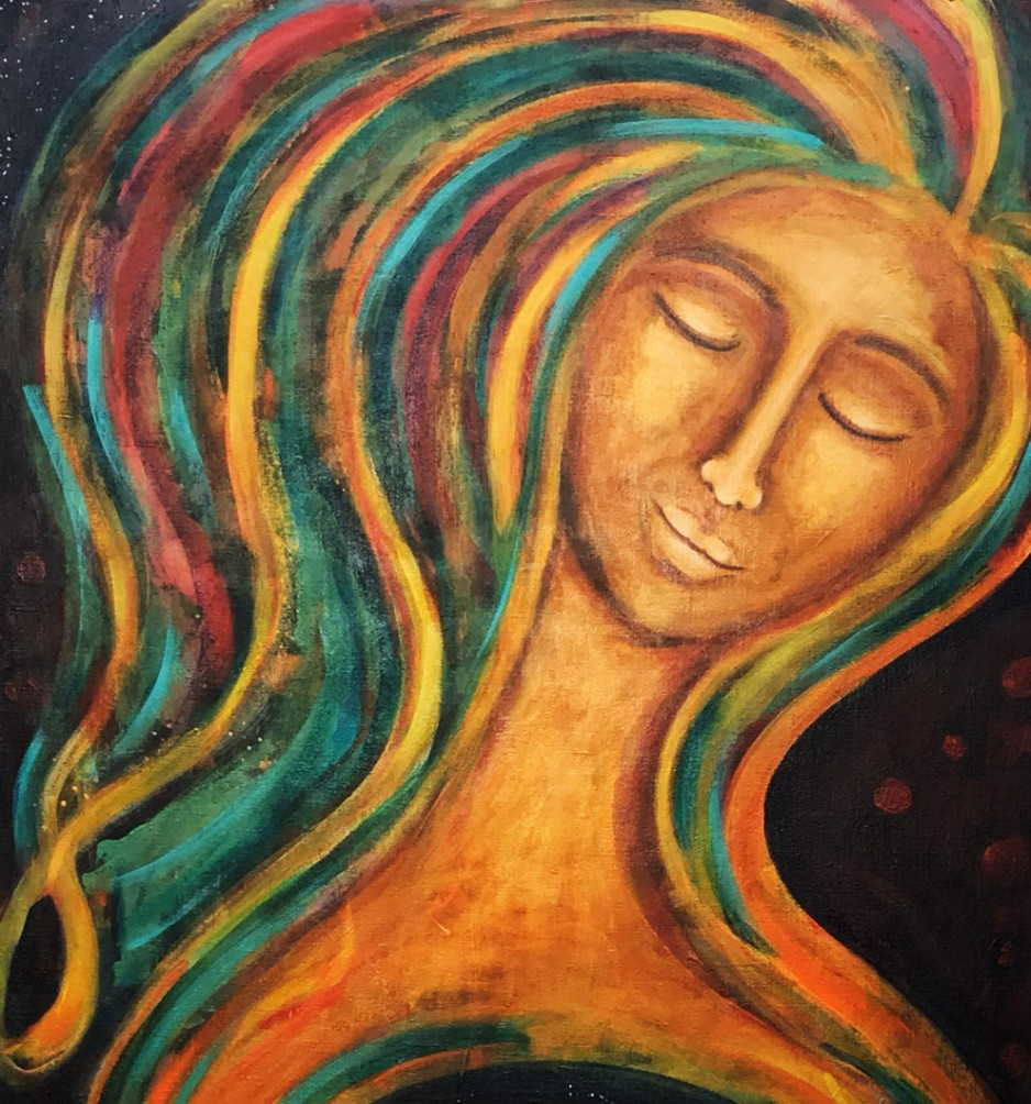 A colorful painting (earth tones) of a woman looking peaceful.