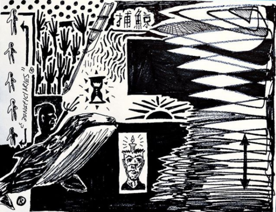 A black and white sketch with a sand-timer and some figures of men in a cave.