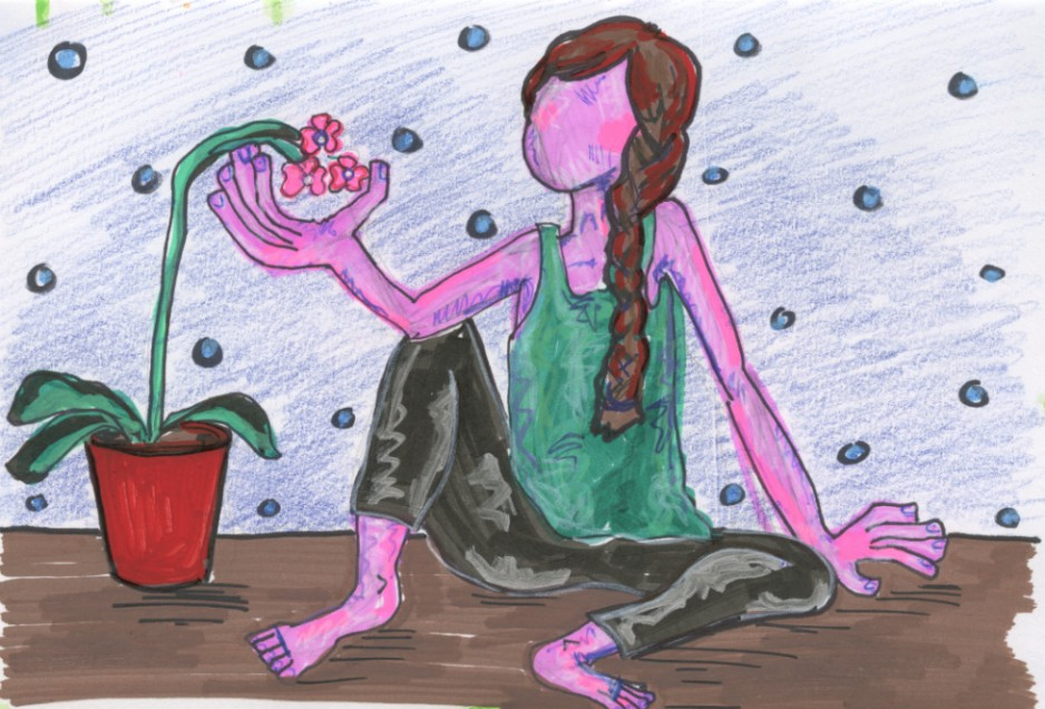 A painting of a woman sitting back observing a drooping flower.